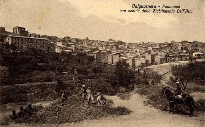 Valguarnera - Panorama veduta dello Stabilimento Dell'Aria - Cartolina primi '900