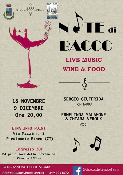 Note di Bacco – Live Music Wine & Food Sergio Giuffrida