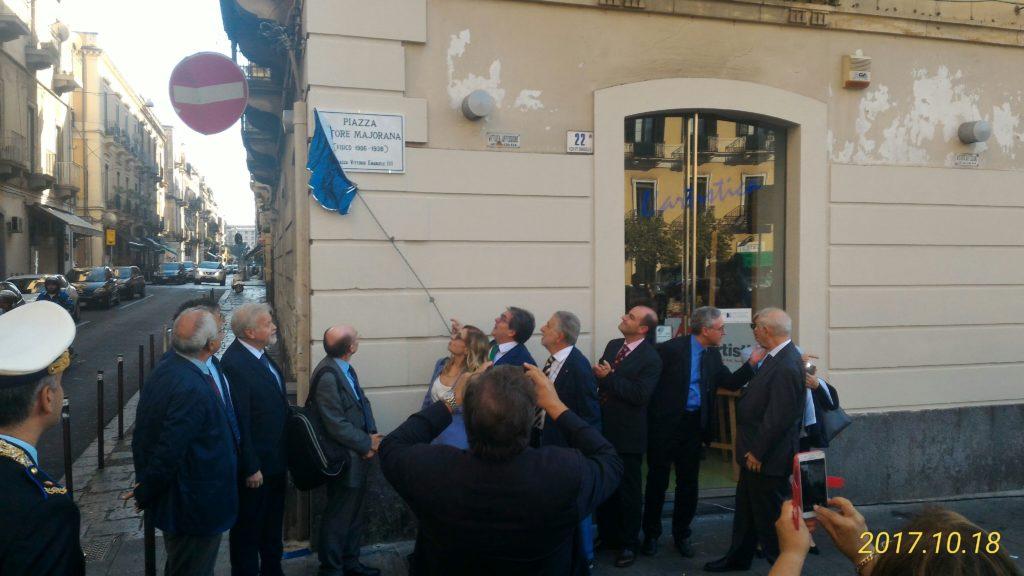 Toponomastica: Sindaco Bianco scopre targa piazza Ettore Majorana